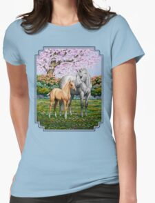 Quarter Horse Mare and Foal Blue Border Womens Fitted T-Shirt