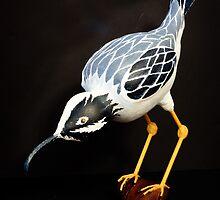 A Ferocious Heron - Gourd Sculpture by Robert Kelch, M.D.