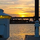 Dock Lite Sunset Stuart Florida by Henry Plumley
