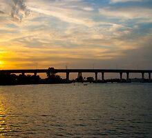 Sunset Behind Roosevelt Bridge Stuart Florida by Henry Plumley