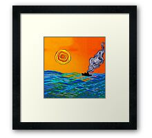 Sunset Steam Boat Framed Print