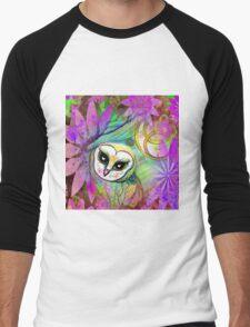 Funky Forest Pink Celtic Owl Men's Baseball ¾ T-Shirt