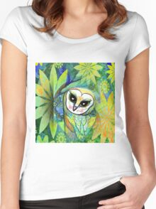 Funky Forest Green Celtic Owl Women's Fitted Scoop T-Shirt