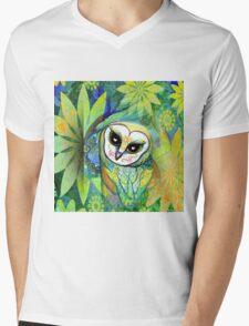 Funky Forest Green Celtic Owl Mens V-Neck T-Shirt
