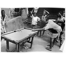 Kids Playing Snooker Poster