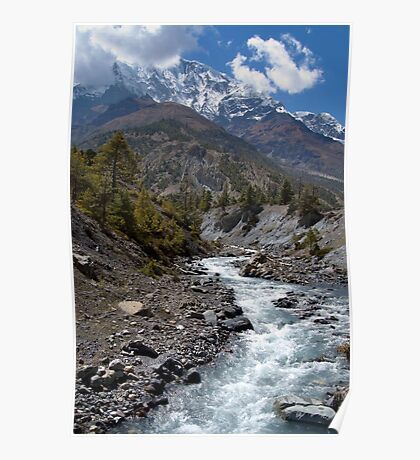 River and Mountains en route to Manang Poster