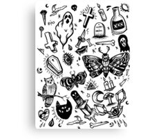SPOOKY TATTOO FLASH SHEET Canvas Print