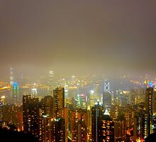 foggy Hong Kong at night by supergold