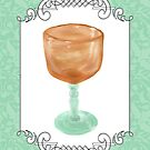 Watercolor Study Amber Glass Compote by Sarah Countiss