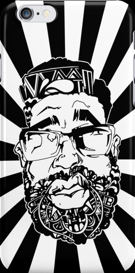 Graffiti Pop-art Cartoon Portrait w/ Background Rays by eaaasytiger