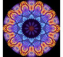 Blue Flame Kaleidoscope 02 Photographic Print