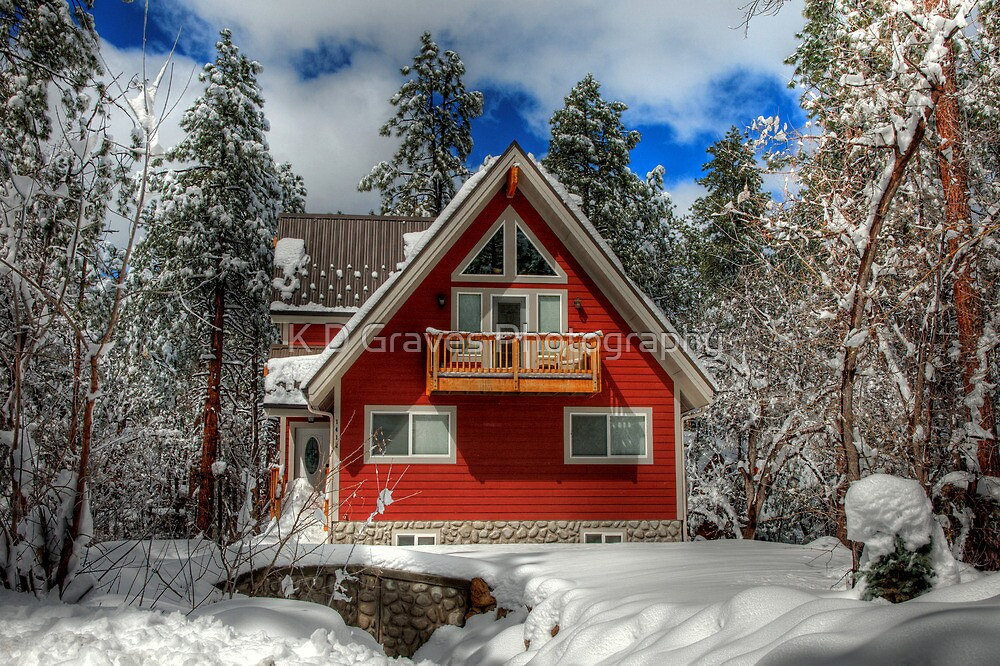 The Mountain Cabin In The Snow by K D Graves Photography