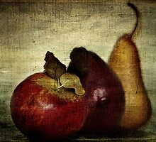 an apple and two pears by Clare Colins