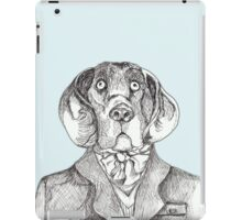 Dog art: pensive hound dog in tweed jacket and ascot, pen & ink on blue background, black and white, animal art iPad Case/Skin