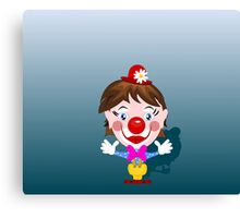 Funny clown with big smile Canvas Print