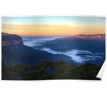 Sunrise on the Jamison Valley, NSW Poster