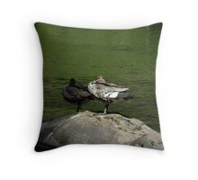 Australian Wood Ducks, Yarra River, Warburton, Victoria Throw Pillow