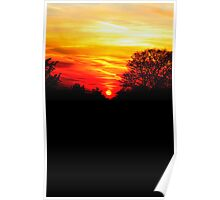 Red sunset vertical Poster