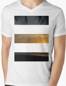 3 Strip Sunset Mens V-Neck T-Shirt