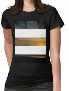 3 Strip Sunset Womens Fitted T-Shirt
