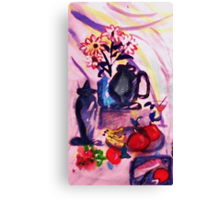 Flowers, fruit with bread and cheese, watercolor Canvas Print