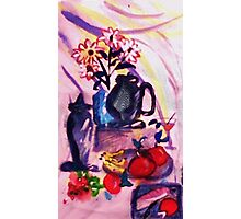 Flowers, fruit with bread and cheese, watercolor Photographic Print