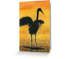 Crane Bathing In Gold Greeting Card