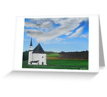 """""""Bavaria Inspired By Dixon.  Quiet Country Chapel"""" (Image of an Oil Painting) Greeting Card"""