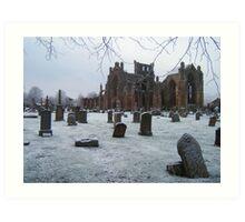 Snowfall at Melrose Abbey, the Scottish Borders  Art Print