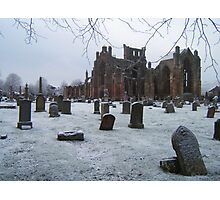 Snowfall at Melrose Abbey, the Scottish Borders  Photographic Print