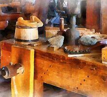 Wood Shop With Wooden Bucket by Susan Savad