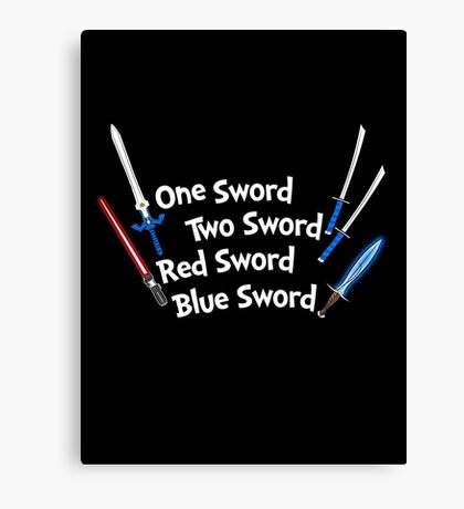 One Sword, Two Sword, Red Sword, Blue Sword Canvas Print