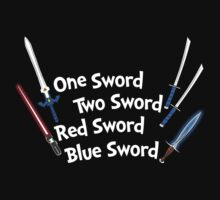One Sword, Two Sword, Red Sword, Blue Sword Kids Tee