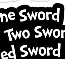 One Sword, Two Sword, Red Sword, Blue Sword Sticker