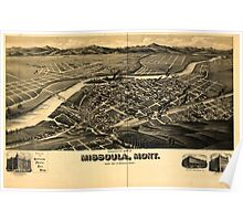 Panoramic Maps Perspective map of Missoula Mont county seat of Missoula County Poster