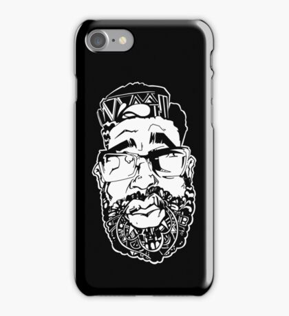 Graffiti Pop-art Cartoon Portrait - Black iPhone Case/Skin