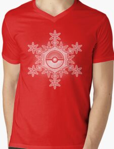 Pokeball Snowflake Mens V-Neck T-Shirt