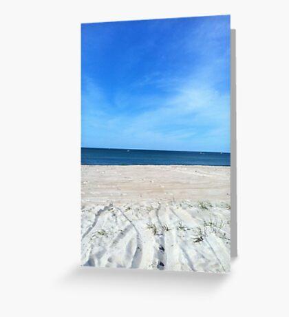 Blue skies above & sand below Greeting Card