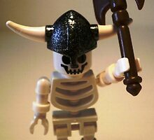 White Skeleton Viking and Custom Axe, Custom LEGO® Minifigure, by 'Customize My Minifig' by Chillee