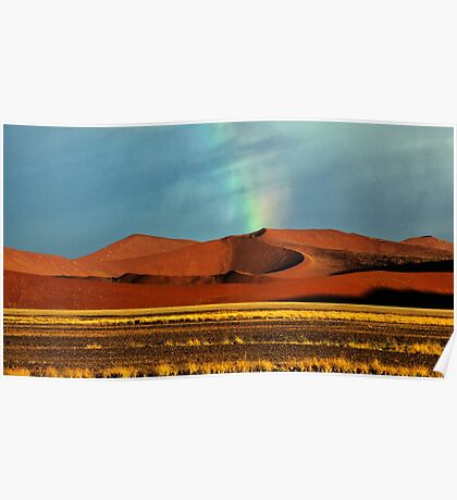 Rainbow over the Dunes Poster