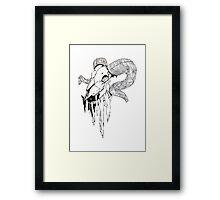 'Decay' Ram Skull Ink Drawing Framed Print