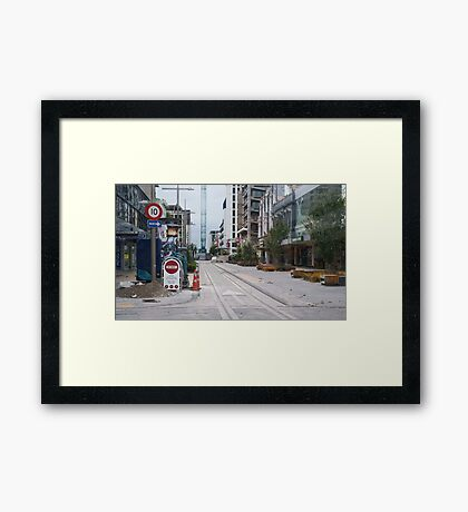 Peeking into the Red Zone, Christchurch, New Zealand Framed Print