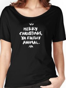 Merry Christmas, Ya Filthy Animal – Black Women's Relaxed Fit T-Shirt