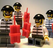 Convict Prisoner LEGO® City Minifigure with Dynamite Sticks, by 'Customize My Minifig' by Chillee