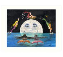 Mermaids Jumping Over Moon Cathy Peek Fantasy Art Print