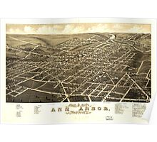 Panoramic Maps view of the city of Ann Arbor Washtenaw Co Michigan 1880 Poster