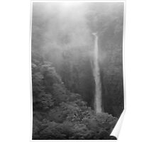 Japan Waterfall Landscape 02 - BW Poster