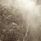 Japan Waterfall Landscape 03 - Sepia by Elvis Diéguez