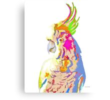 7 DAYS OF SUMMER- COCKATOO ART IN BLUE AND PEACH Canvas Print