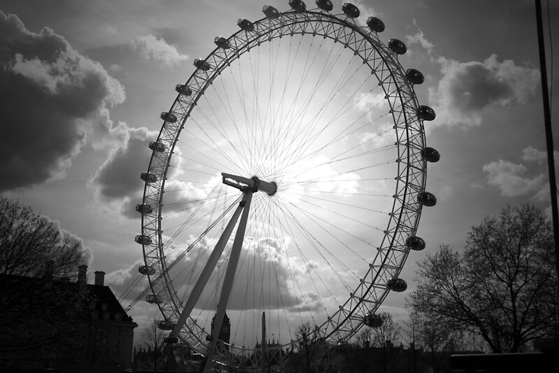 london eye black and - photo #3